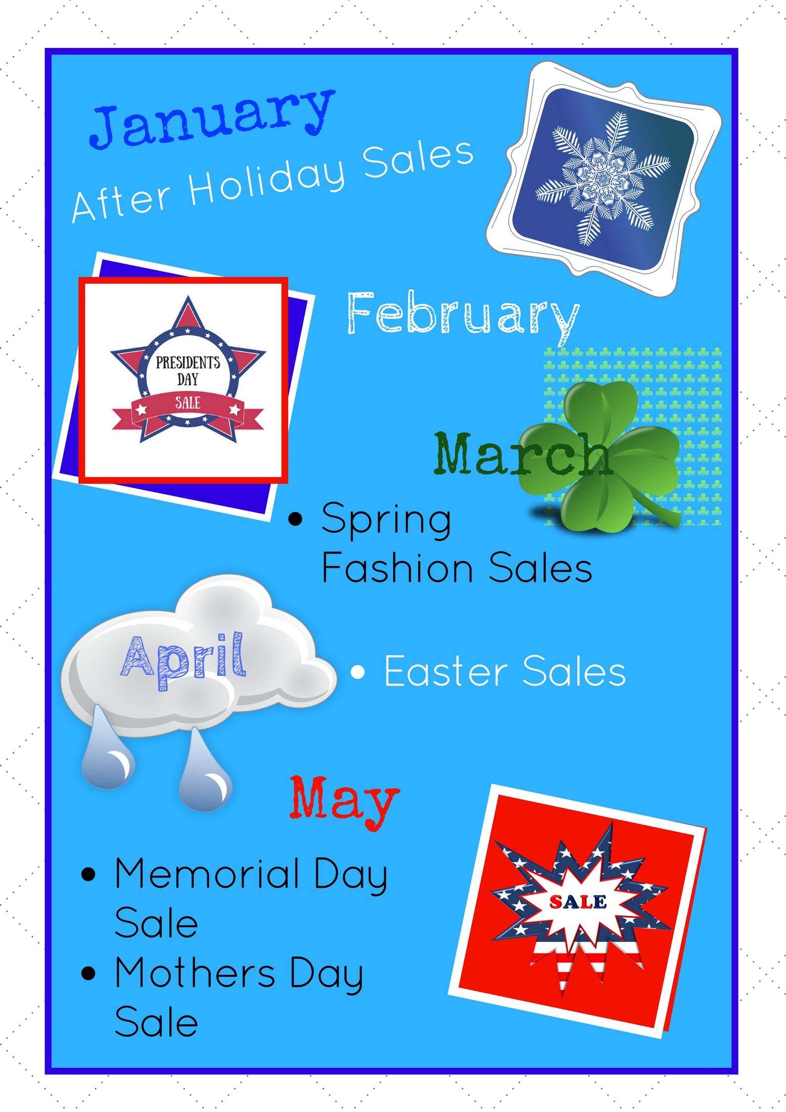 January- May Shopping Calendar