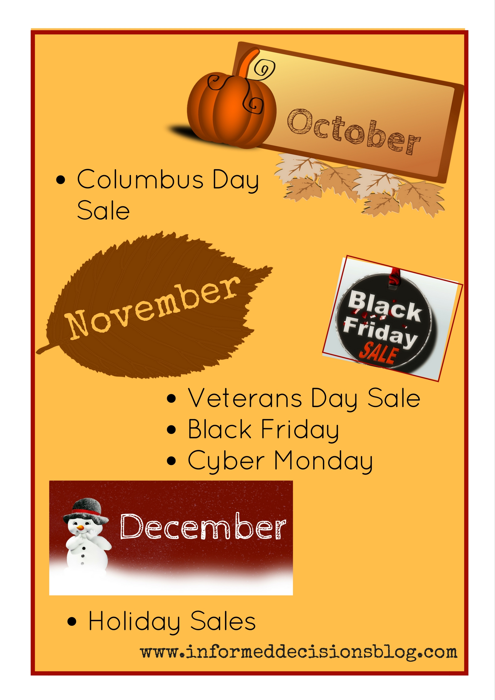 October - December Shopping calendar